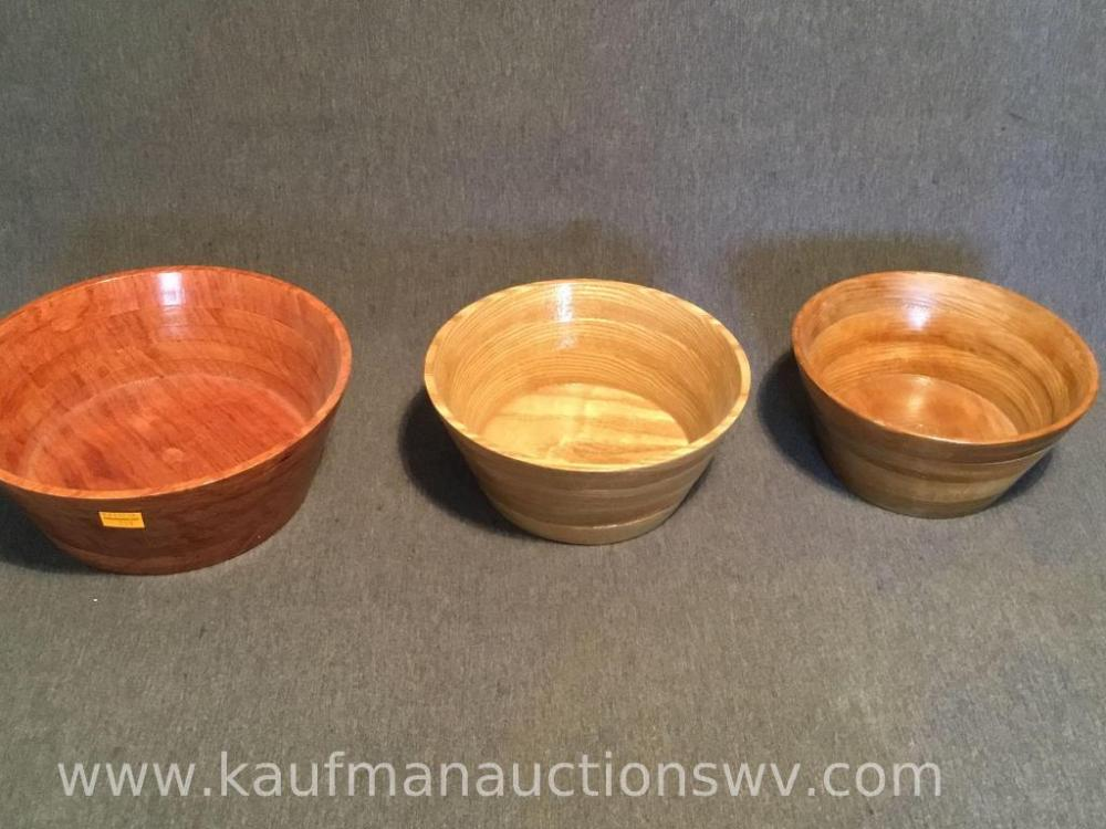 Three Handcrafted Wooden Bowls Two Are Sassafras And One Is Bubingo