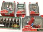 4 Coca-Cola town Square collection pieces and Coca-Cola six pack ornamental bottles