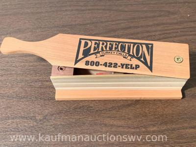 Perfection box call by Jim Clay, signed by Jim Clay and Tom Vance