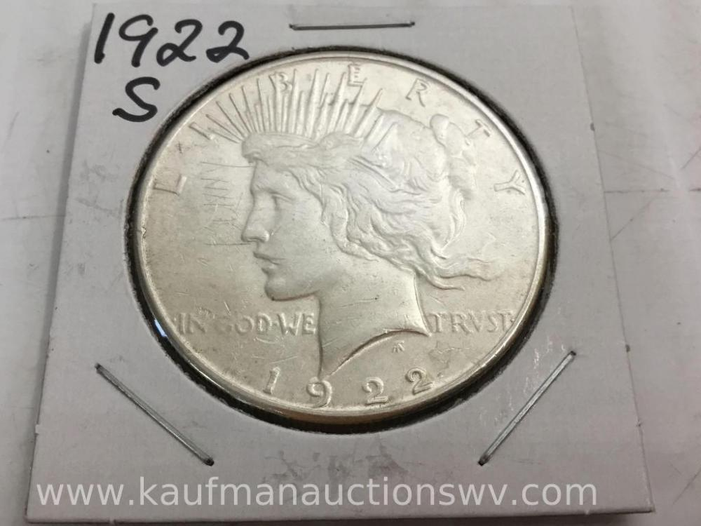 1922 S peace dollar coin