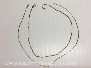 Two-14 K gold chain necklaces, 4 g