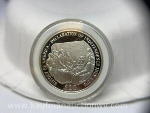 2000 republic of Liberia $20 silver coin