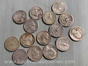 15 silver quarters, all different dates