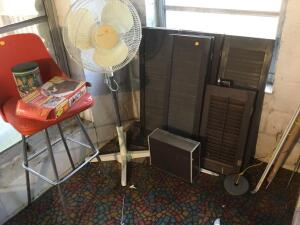 Window shutters, fans, chair, etc.