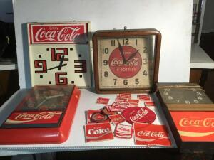 4 Coca-Cola clocks & patches