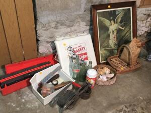 Coke memorabilia, wood cloth bins, hazard triangle