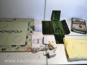 Monopoly games, compuses, baby monitor and baby blanket
