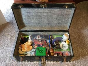 Tin trunk and Black & Decker iron, Massage pillow, wooden shoes, oil can, etc.