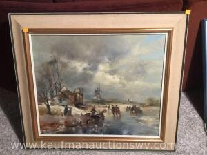 Pioneer winter scene oil on canvas signed
