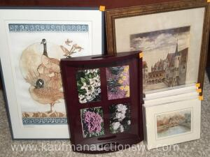 Assortment of framed art work and serving tray