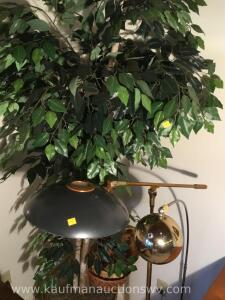 8 foot tree, live plant, baskets and floor lamps