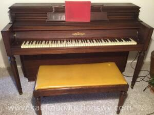 Chickering piano, stool and music books
