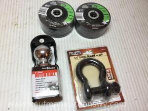 2 inch hitch ball, 3/4 inch clevis, 4 1/2 inch grinding wheels