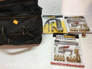 Dual Chuck tire inflator, 17 piece air tool accessory kits