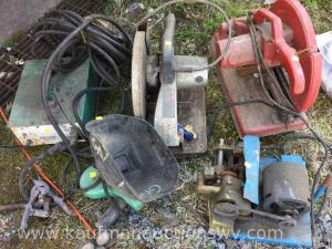 Mig welder, two electric chop saws, grinder