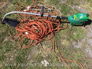 Weed eater, approximately 100 foot extension cords