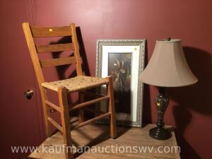 Ladderback chair, marble lamp, picture