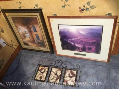Two framed pictures and metal wall hanging piece