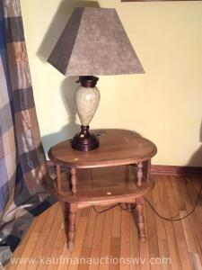 Two tier side table and lamp