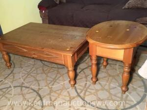 One drawer side table and coffee table