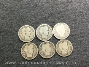 Six Barbour quarters, all different dates