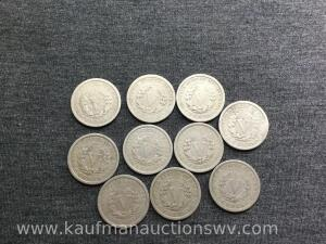 10 liberty nickels, all different dates