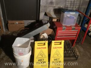 Caution signs, wire, tissue paper, toolbox, etc.