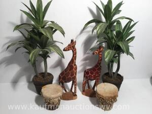 Wood carved giraffes, genuine besmo hand carved in Kenya drums, artificial floral arrangements