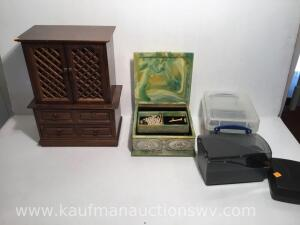 2 Jewelry boxes, blank CDs, cd organizer - 1 box is slag glass