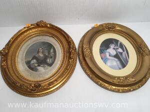 Two oval framed pictures