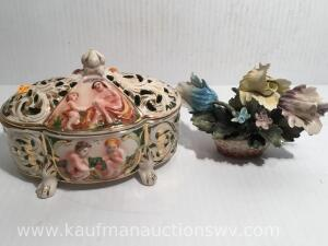 Capodimonte dresser dish and floral arrangement