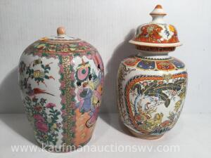 Two porcelain urns