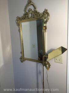Wall mirror, floor lamp, sconce