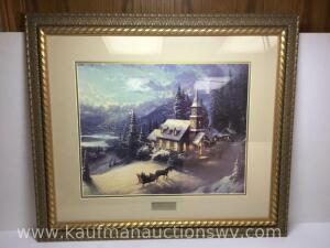"30 1/2"" x 26 1/2"" Sunday evening sleigh ride by Thomas Kinkade library edition"