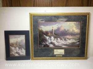 "26"" x 22"" conquering the storms by Thomas Kinkade and 11"" x 14"" inspirations from lightposts for living"