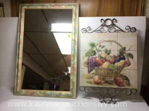 "19 1/2"" x 30"" wall mirror and home interior wall piece"