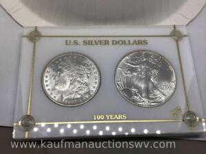 US silver dollars, 1987 American Eagle and 1887 Morgan, uncirculated