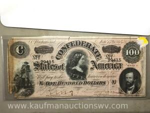Confederate states of America $100 February 17, 1864 Richmond currency note