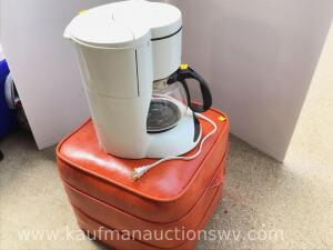 12 cup coffee maker and footstool