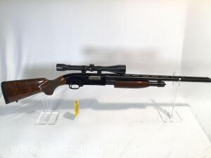 Winchester model 1300 featherweight pump action 12 gauge, weaver KG-E scope -serial #L1722044