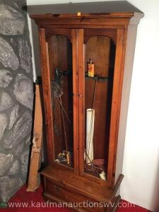 Six gun cabinet and contents