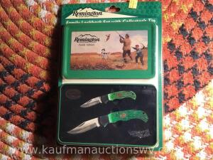 Remington sportsman's family locked back knives set with Collectors tin