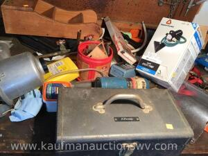 Metal toolbox, ratchet strap, propane torch, utility pump and more