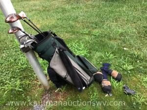 Taylor made and hogan golf clubs and Bennington golf bag