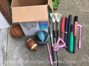 Basketball, football, plastic bats, assorted balls