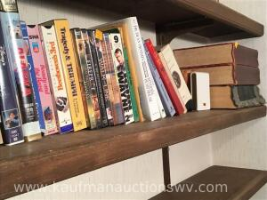 Webster's dictionary, DVDs, VHS tapes, decor