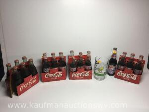 Coca-Cola and Pepsi NASCAR Advertising unopened bottles and tweety bird glass