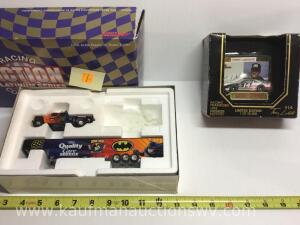 Terry LaBonte 1/64 scale car and card, dale Jarrett Batman and Joker truck and trailer