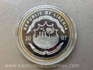 2007 republic of Liberia $20 silver coin