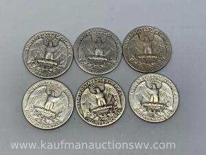 Six different dates Washington quarters
